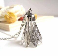 Silver Badminton Shuttlecock Pendant Necklace