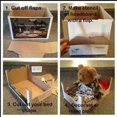 dolls bed diy cardboard - Google Search Cardboard Cat House, Cardboard Crafts, Paper Crafts, Baby Doll Crib, Baby Dolls, Book Character Pumpkins, Diy Karton, Pink Crafts, Baby Crafts