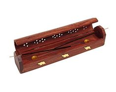 Beautiful Handmade Wooden Brown Incense Stick Holder Burner Storage Coffin Box Ash Catcher With Elephant Motif Brass Inlay Home Utilities & Accessories