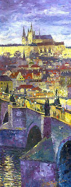 Prague Violet Panorama Charles Bridge