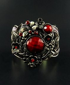 $14 Starting Bid: Antiqued Silver with Red Stones Bracelet. Check out the 'Yesterday's Jewelry' auction! Bidding starts on August 1st, 3:00 PM PDT (6:00 PM EDT). http://www.outbid.com/auctions/1903#3