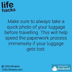 Take s picture of your checked luggage just in case Simple Life Hacks, Useful Life Hacks, Tenerife, 1000 Life Hacks, Cruise Tips, Packing Tips, Good Advice, Things To Know, Good To Know
