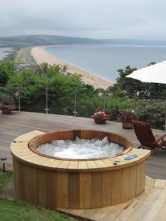 Our wooden hot tubs are constructed in the traditional barrel style cedar wood. Cedar is renowned for its longevity and aroma. There are no liners or acrylic shells in our hot tubs just wonderfully tactile and aromatic cedar. Riviera hot tubs are deeper than acrylic spas. This extra depth increases buoyancy creating a wonderfully relaxing, luxurious hot tub. Find out more here: http://www.riviera-hottubs.co.uk/wooden-hot-tubs/