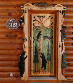 Your entry doors is the focal point of your home and provides the ideal opportunity to create something both unique and really special. Custom wood carved doors are a great way to make a statement … Rustic Exterior, Exterior Homes, Modern Exterior, Exterior Design, Cabin Doors, Log Home Decorating, Bear Decor, Unique Doors, Entry Doors