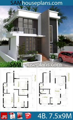 House Plans 7.5x9 with 4 Bedrooms - Sam House Plans