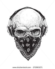 Dotwork styled skull with headphones and bandana. Vector art.