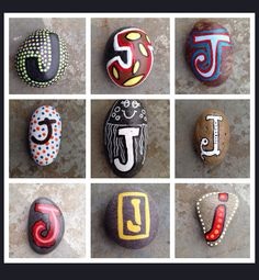SNS DESIGNS creative lettering hand painted stones J
