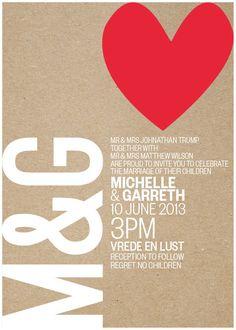 Wedding Invitation  RSVP kraft paper inspired Natural Eco Big Red Heart - Printable Designs. $15.00, via Etsy.