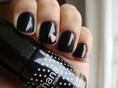 Black with pink heart nail #manicure #pretty #glamour #nail #nails #cute #design #color #nailart #art #beauty #black