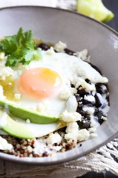 Eggs are not just for breakfast, I love them for lunch or dinner too! This flavorful protein-pack breakfast bowl has a Mexican flair, topped with salsa verde, black beans, avocados and queso fresco.