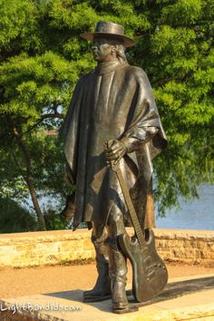 Dream of visiting this statue.   Stevie Ray Vaughn statue on shores of Lady Bird Lake, Austin Texas