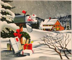 #1176 50s Volland Mailboxes in the Night-Vintage Christmas Greeting Card