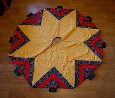 Vintage Quilted, Homemade Christmas Tree Skirt, Gold, Red, Green, Festive and Fun, Nostalgic Gift, Geometric Triangle Tree Design, 70s, 80s by BrindleDogVintage on Etsy