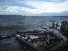 Alki Beach, West Seattle, storm 12-17-2012