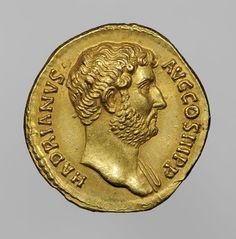 Coin of the Emperor Hadrian. Roman, A.D. 134-38 Gold; Diam.: 1.8 cm; Wt: 7.2 grams, minted in Rome. Bibliothèque nationale de France, Département des monnaies, médailles et antiques, Paris. VEX.2014.1.112