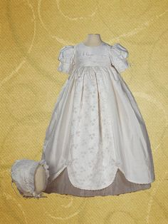 Cassiani Couture Alyssa 100% Silk Embroidered Baptism Dress Christening Gown #Dress