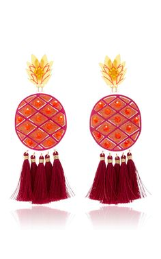 Fiesta Piña Morada Gold-Tone Earrings by MERCEDES SALAZAR Now Available on Moda Operandi