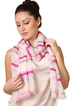 Women's All That Jazz Silver Shimmer Stripe Fashion Scarf, stripe scarf, dazzling, shimmering, silver scarf, ladies shawl, shawls, dressy scarves, multicolor, edgy, trendy, formal, casual, white scarf, pink scarf, tassels, holiday scarves, gifts, bestselling scarves