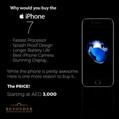 What's your reason to buy iPhone 7?  Get it at  for AED 3,000  Is that a Good Reason?  #iPhone7Deals #iPhone7AtBeyonder