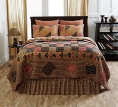 HOMESTEAD King Size Quilt Flying Geese Pattern Primitive Country