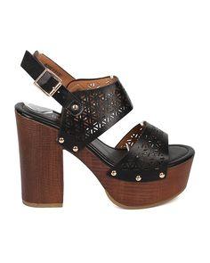 0d0f41e8bef Alrisco Women Peep Toe Block Heel Sandal - Slingback Platform Chunky Heel -  Perforated Dressy Casual