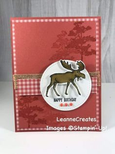 Masculine Birthday Card Used the new & versatile Merry Moose stamp set & coordinating punch to create this birthday card. Fall Cards, Winter Cards, Holiday Cards, Christmas Cards, Stampin Up Christmas, Merry Christmas, Masculine Birthday Cards, Birthday Cards For Men, Masculine Cards