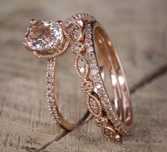 Now On Sale: Save Over $600, Normal Selling Price is $1199 Limited Time Sale for $599 Only A perfect handmade 2 carat Morganite and Diamond Trio Engagement Ring Set in 10k Rose Gold for Women. The perfect trio wedding ring set showcases main Engagement Ring and 2 matching wedding ring #weddingring