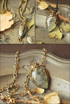 """Necklaces by Lorliaswood. Zoom on the vegetal line. """"Bad Lichen"""" (left), """"The Herbalist"""" (right), """"Royal Herbalist"""" (bottom), available in the shop (www.lorliaswood.fr)"""