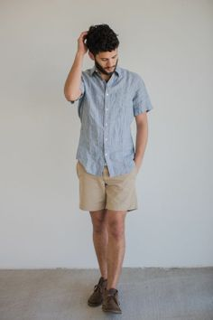 "Perfect spring style: linen, 7"" shorts, chukka boots - sidewalk ready men"