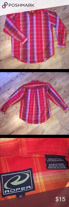 Men's Roper Long-sleeved Button-up, Size Medium NWOT Men's Roper long-sleeved button-up shirt in red, orange, and purple. Size medium. Never worn, this didn't fit my husband. Roper Shirts Casual Button Down Shirts