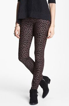 Love this look for fall: Free People leopard skinny pants, ankle booties and a chunky sweater