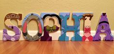 Sofia the First letter art. Hand painted letters. Kids room/nursury decor. by ShellsDesignStudio on Etsy https://www.etsy.com/listing/247146352/sofia-the-first-letter-art-hand-painted