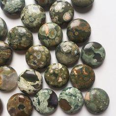20mm Flat Round Rhyolite Beads by SimonandRuby on Etsy