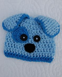 baby blue puppy crocheted hat/ etsy