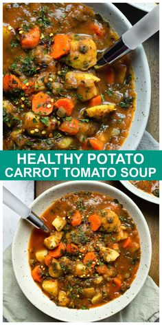 Healthy Potato Carrot Tomato Soup is vegan and just the soup you need when you are craving a healthy, hearty and plant-based soup full of whole food ingredients and using what you already have on hand. #vegan #potato #soup #carrot #tomato #plantbased #oilfree Healthy Hearty Soup, Healthy Potato Soup, Healthy Potatoes, Healthy Soup Recipes, Whole Food Recipes, Cooking Recipes, Potato Soup Vegetarian, Vegan Bean Soup, Low Fat Vegetarian Recipes