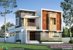 1805 square feet 3 bedroom house plan architecture plan by Line Construction & Interiors, Thrissur, Kerala. Duplex House Plans, Bungalow House Design, Front Elevation Designs, House Elevation, Kerala House Design, Kerala Houses, 30x50 House Plans, Bedroom House Plans, House Front
