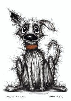 Sausage the dog Friendly happy pet doggie Cartoon picture original artwork.