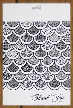 Zentangle inspired scallops ~ note card Zentangle Drawings, Doodles Zentangles, Doodle Drawings, Fish Zentangle, Tangle Art, Tangle Doodle, Zen Doodle, Doodle Patterns, Zentangle Patterns