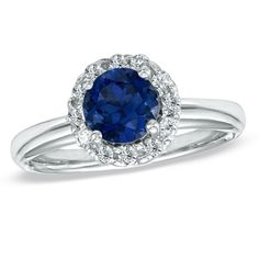 Lab-Created Blue Sapphire and 1/4 CT. T.W. Diamond Engagement Ring in 10K White Gold