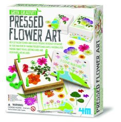 Pressed Flower Art Kit If you like making flower art you'll adore this! Decorate cards, bookmarks or trinket boxes with our Pressed Flower Art Kit. Kit includes flower press, glue, brush, double-sided tape and instructions. Kids Crafts, Science Projects For Kids, Craft Projects, Arts And Crafts, Science Kits, Summer Crafts, Art Floral, Flower Press Kit, Fabric Bowls