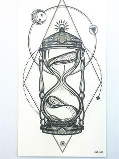 Beautiful Sexy Tatuagem Tattoo Body Art Sand Clock Tattoo Stickers 21*11 cm Waterproof Temporary Fake Tattoo for Men and Women #Affiliate