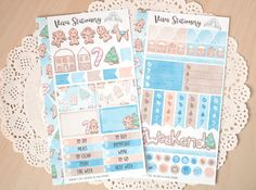 Sweeten your holidays with this adorable sticker kit for your life planner. Available in Candy Pink, Pine Green and Ice Blue colors, its perfect for candy and biscuit lovers just like me! Dont forget to check the rest of our Christmas collection, new items are released every week!  This cute sticker kit has been designed for personal* sized planners but will look great in any kind of diary, notebook, journal or scrapbooking project! Its inspired by the colors of our cute kawaii girl, Vera…