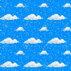 29983239-Seamless-vector-cloud-pattern-pixel-art-Stock-Vector.jpg (1300×1300)