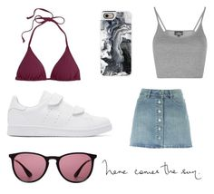 """""""Here comes the sun."""" by fridasaaa on Polyvore featuring J.Crew, Topshop, Étoile Isabel Marant, adidas Originals, Casetify and Ray-Ban"""