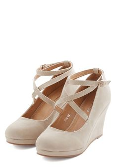 Fabled Sable Wedge in Sand - Mid, Faux Leather, Tan, Solid, Party, Work, Good, Platform, Wedge, Variation, Buckles, Wedding, Bridesmaid, Bri...