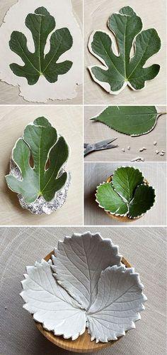 Make diy leaf bowls from air dry clay: