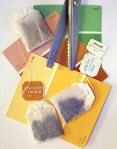 Customized tea bags. or just use paint samples for tags for anything! genius