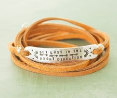 Get lost in the right direction, sterling silver leather quote bracelet, clasped silver quote bracelet, yoga jewelry, yoga, arrow bracelet