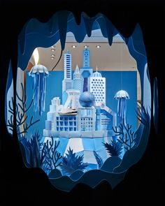 Zim & Zou Created Atlantis for Hermès who hired them to design the windows for the re-opening of their store located in Rodeo Drive, Beverly Hills - All made from Paper by Hand - can be seen on Behance - this is only one of the windows<3