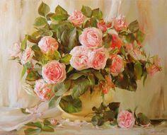 Художник Айдемир Саидов. Очаровательные букеты роз. Картины